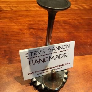 Handmade Engine valve and gear business card holder