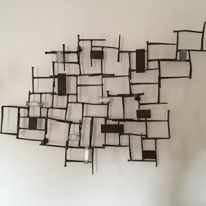 Brutalist welded nail wall sculpture